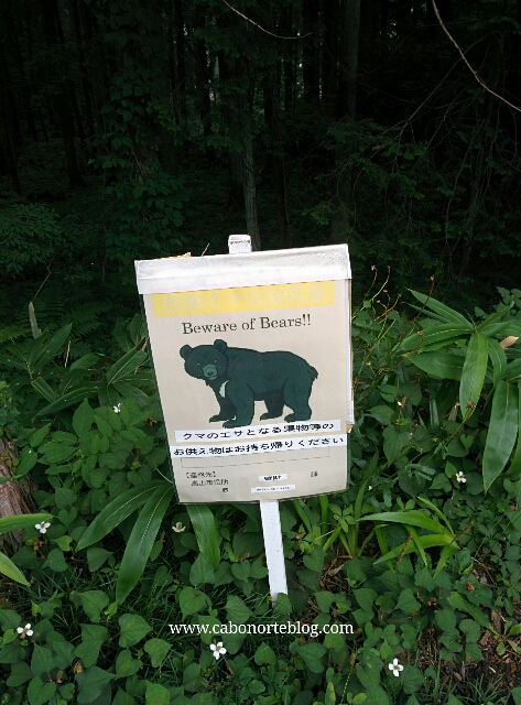 Cartel avisando de osos en una ruta cerca de Takayama