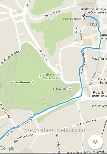 Ruta de llegada a la Catedral de Santiago sin pasar por la Rúa do Franco