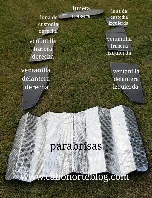 Cartones adaptados para tapar las ventanillas